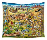 Illustrated Map Of Arizona Tapestry