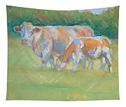 Impressionist Cow Calf Painting Tapestry