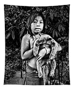 Girl With Oso Dormilon Tapestry