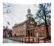 Independence Hall From Chestnut Street Tapestry