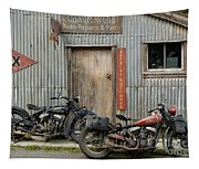 Indian Chout And Chief Bobber At The Old Okains Bay Garage Tapestry