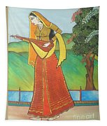 Indian Lady Playing Ancient Musical Instrument Tapestry