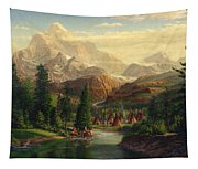 Indian Village Trapper Western Mountain Landscape Oil Painting - Native Americans Americana Stream Tapestry