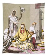 Indian Woman In Her Finery, With Guests Tapestry