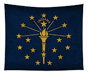 Indiana State Flag Art On Worn Canvas Tapestry