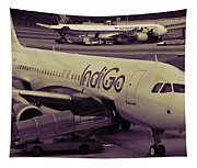 Indigo Aircraft Getting Ready In Changi Airport Tapestry