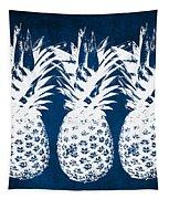 Indigo And White Pineapples Tapestry