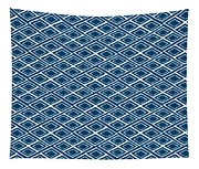 Indigo And White Small Diamonds- Pattern Tapestry