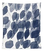 Indigo Rain- Abstract Blue And White Painting Tapestry