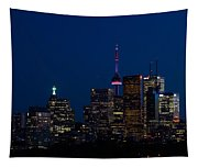 Indigo Sky And Toronto Skyline Tapestry