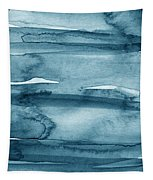 Indigo Water- Abstract Painting Tapestry by Linda Woods