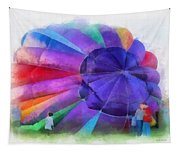 Inflating The Rainbow Hot Air Balloon Photo Art Tapestry