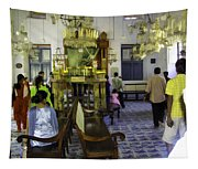 Inside The Historic Jewish Synagogue In Cochin Tapestry