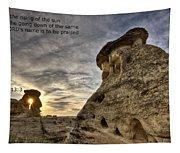 Inspirational Hoodoo Badlands Alberta Canada Tapestry