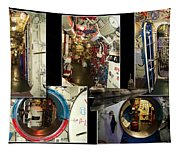 Interior Hatches Collage Russian Submarine Tapestry