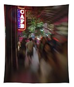 International Cafe Neon Sign And Street Scene At Night Santa Monica Ca Portrait Tapestry