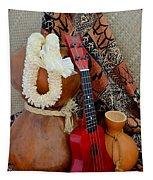Ipu Heke And Red Ukulele With White Satin Lei Tapestry