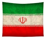 Iran Flag Vintage Distressed Finish Tapestry