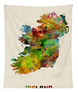 Ireland Eire Watercolor Map Tapestry by Michael Tompsett