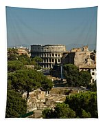Italian Landscape With The Colosseum Rome Italy  Tapestry