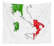 Italy Painted Flag Map Tapestry