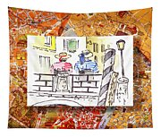 Italy Sketches Venice Two Gondoliers Tapestry