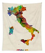 Italy Watercolor Map Italia Tapestry
