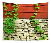 Ivy On Stone And Wood Tapestry