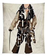 Jack Sparrow Inspired Pirates Of The Caribbean Typographic Poster Tapestry
