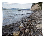 Jackson Lake With Boats Tapestry