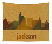 Jackson Mississippi City Skyline Watercolor On Parchment Tapestry