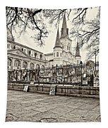 Jackson Square Winter Sepia Tapestry