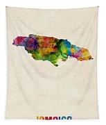 Jamaica Watercolor Map Tapestry