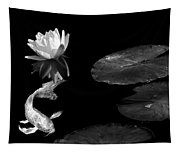 Japanese Koi Fish And Water Lily Flower Black And White Tapestry