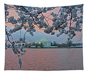 Jefferson Memorial Cherry Blossoms Tapestry