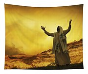 Jesus With Arms Stretched Towards Heaven Tapestry