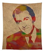 Jimmy Stewart Watercolor Portrait On Worn Distressed Canvas Tapestry by Design Turnpike