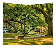 Jogging In City Park Tapestry