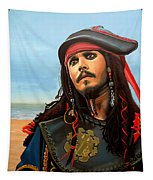 Johnny Depp As Jack Sparrow Tapestry by Paul Meijering