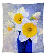 Just Plain Daffy 2 In Blue - Flora - Spring - Daffodil - Narcissus - Jonquil  Tapestry