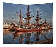 Kalmar Nyckel At Anchor In Salem Ma Tapestry