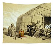 Kalmuks With A Prayer Wheel, Siberia Tapestry