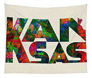 Kansas Typographic Watercolor Map Tapestry
