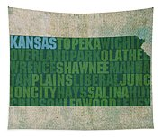 Kansas Word Art State Map On Canvas Tapestry
