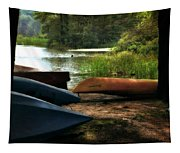 Kayaks On The Shore Tapestry