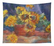 Keep On The Sunny Side - Original Contemporary Impressionist Painting - Sunflower Bouquet Tapestry