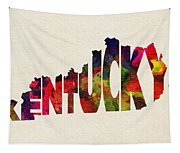 Kentucky Typographic Watercolor Map Tapestry
