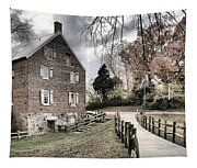 Kerr Grist Mill Stormy Skies Panorama Tapestry