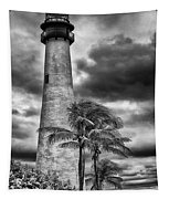 Key Biscayne Fl Lighthouse Black And White Img 7167 Tapestry