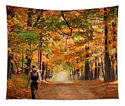 Kid With Backpack Walking In Fall Colors Tapestry